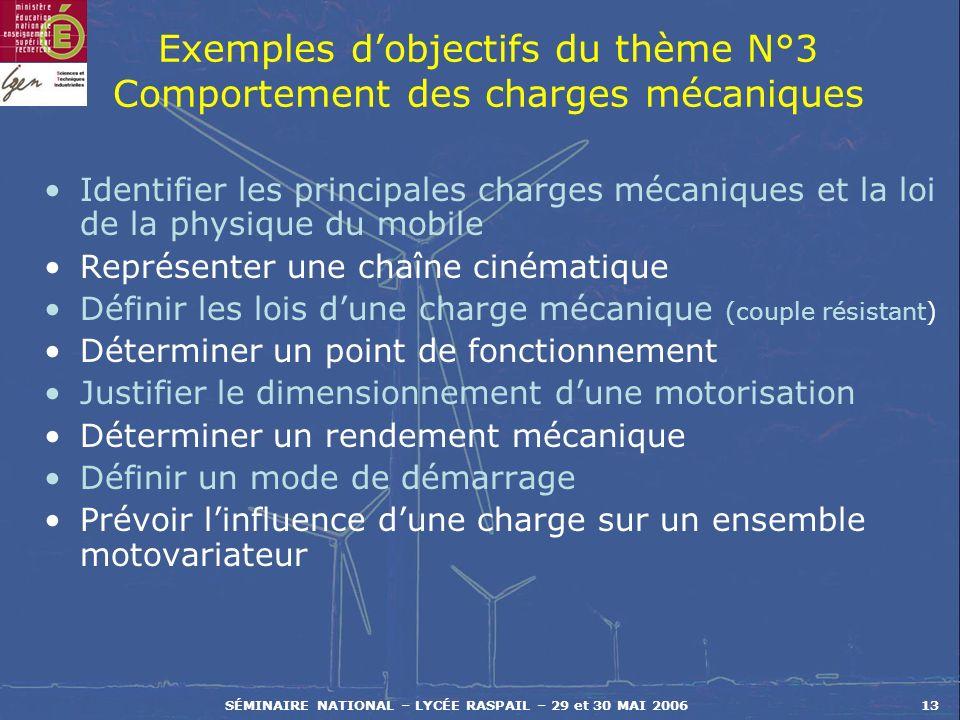Exemples d'objectifs du thème N°3 Comportement des charges mécaniques