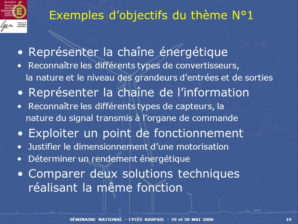 Exemples d'objectifs du thème N°1
