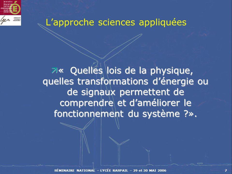 L'approche sciences appliquées