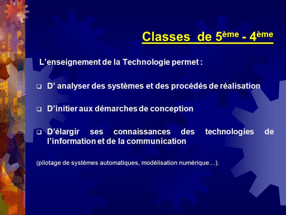Classes de 5ème - 4ème L'enseignement de la Technologie permet :