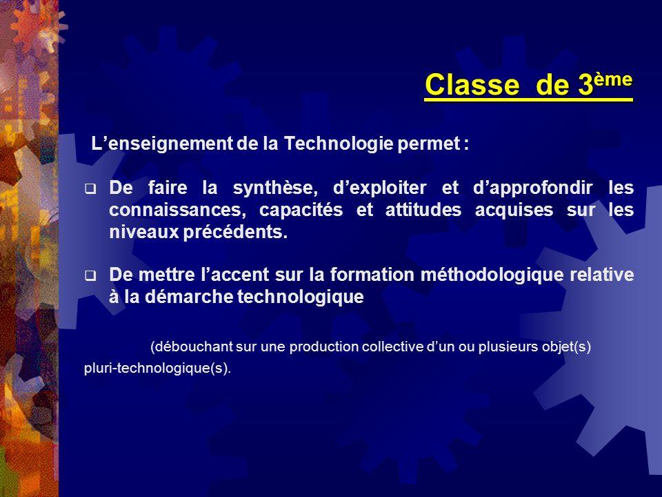 Classe de 3ème L'enseignement de la Technologie permet :