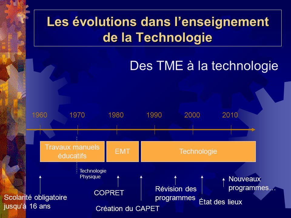 Les évolutions dans l'enseignement de la Technologie
