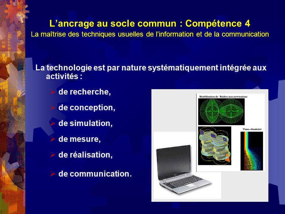 L'ancrage au socle commun : Compétence 4 La maîtrise des techniques usuelles de l'information et de la communication