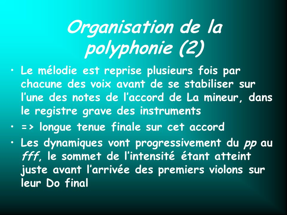 Organisation de la polyphonie (2)