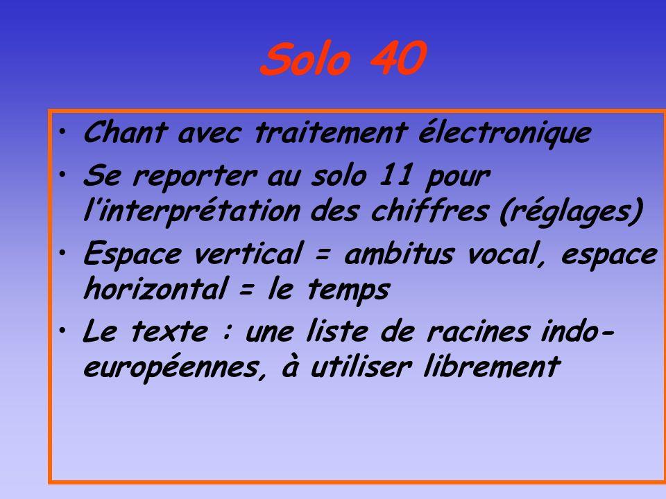 Solo 40 Chant avec traitement électronique