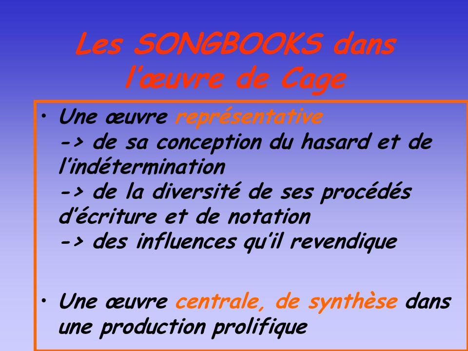 Les SONGBOOKS dans l'œuvre de Cage