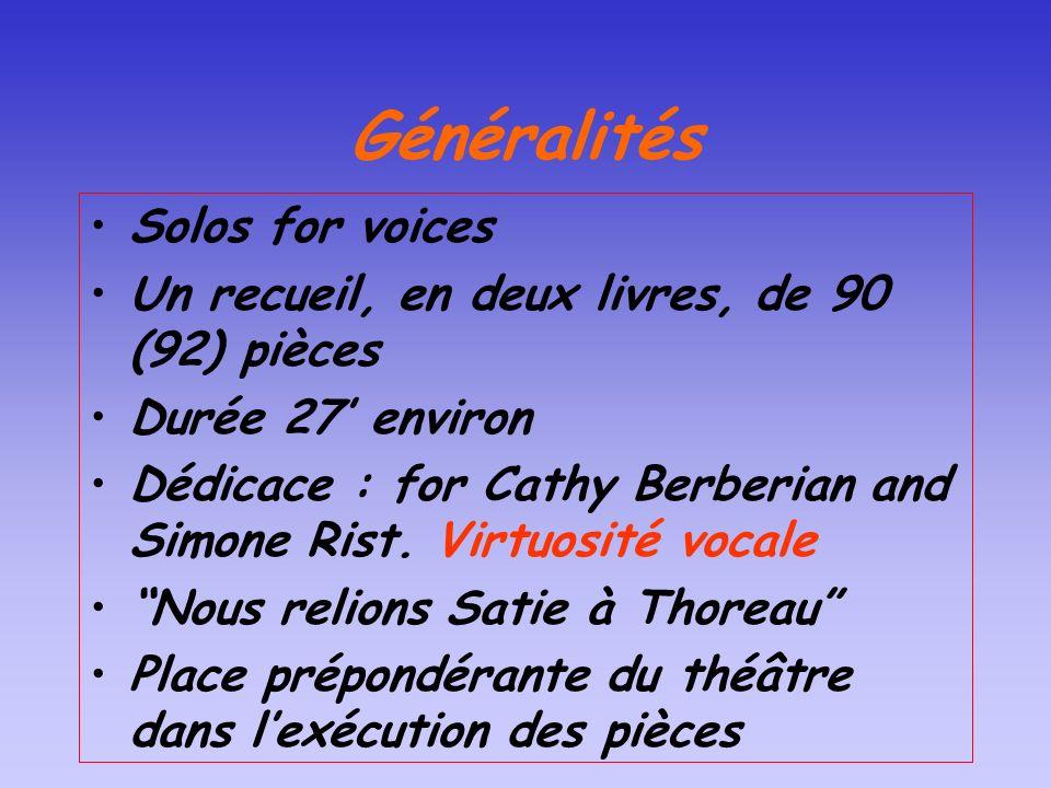 Généralités Solos for voices