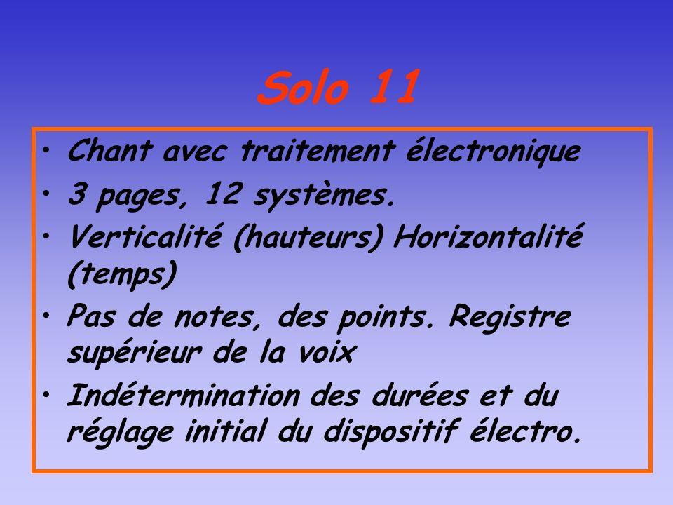 Solo 11 Chant avec traitement électronique 3 pages, 12 systèmes.