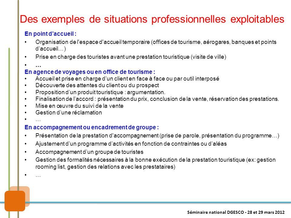 Des exemples de situations professionnelles exploitables