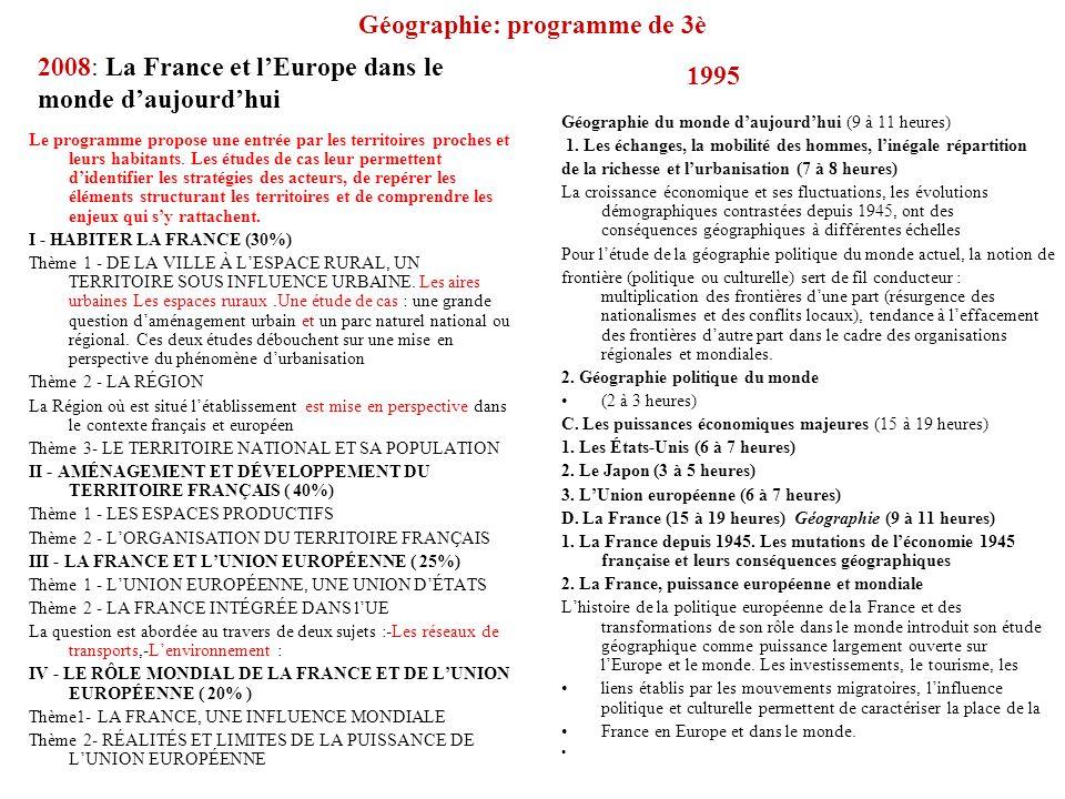 Géographie: programme de 3è