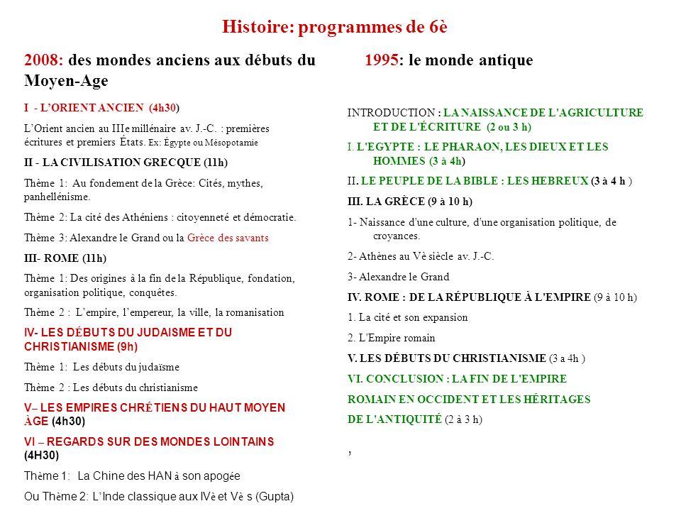 Histoire: programmes de 6è