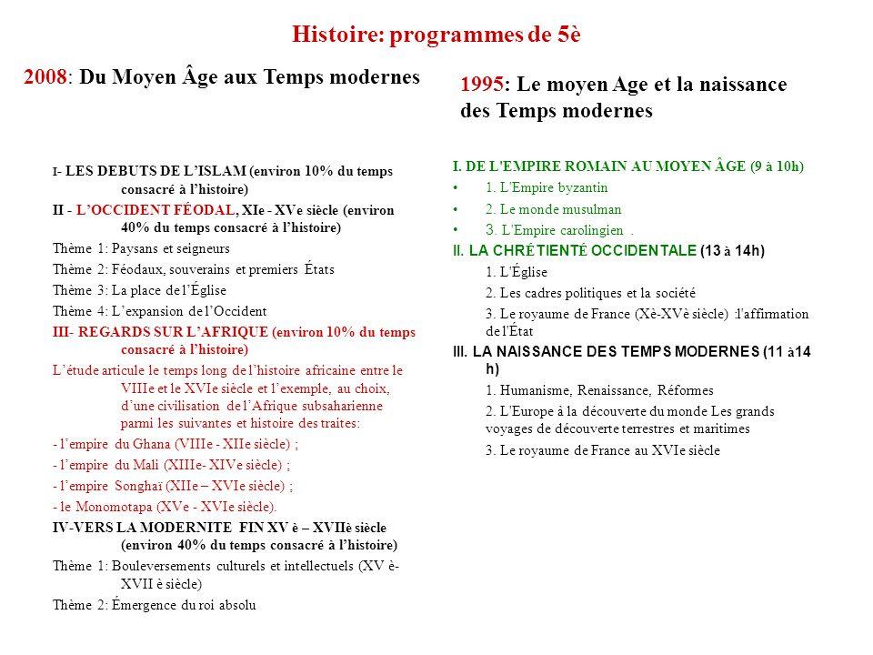 Histoire: programmes de 5è