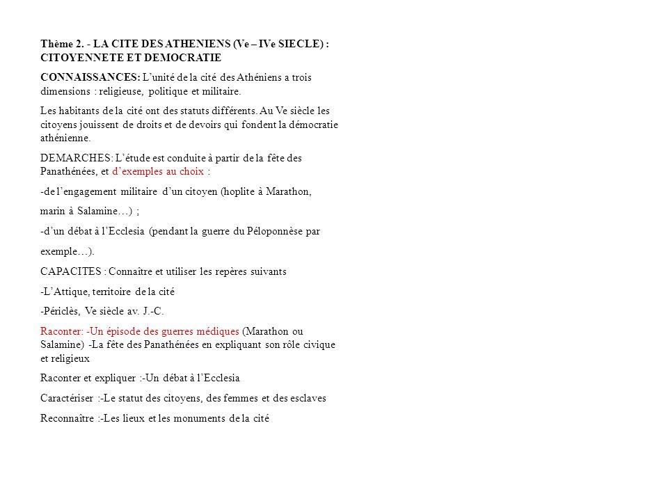Thème 2. - LA CITE DES ATHENIENS (Ve – IVe SIECLE) : CITOYENNETE ET DEMOCRATIE
