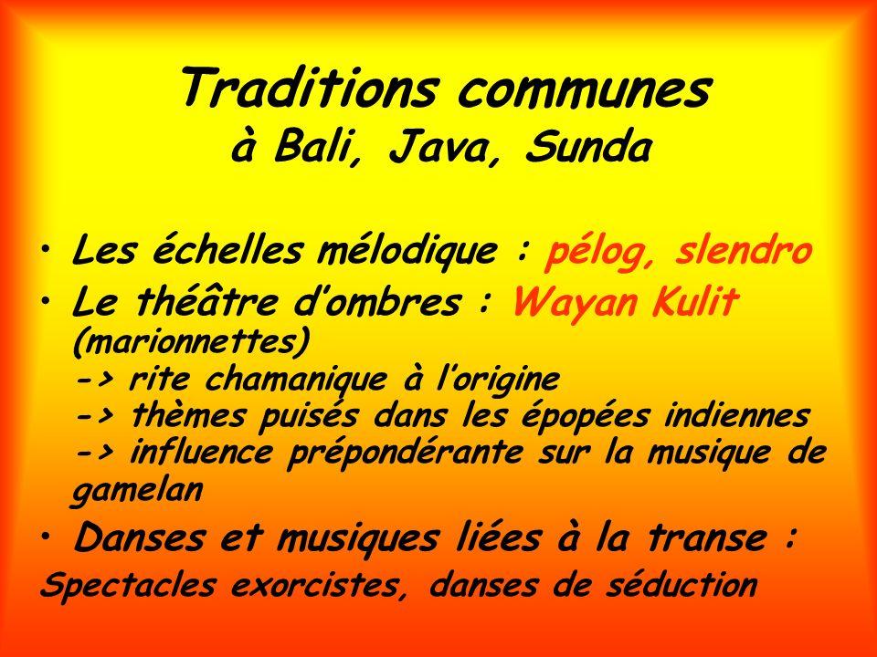 Traditions communes à Bali, Java, Sunda