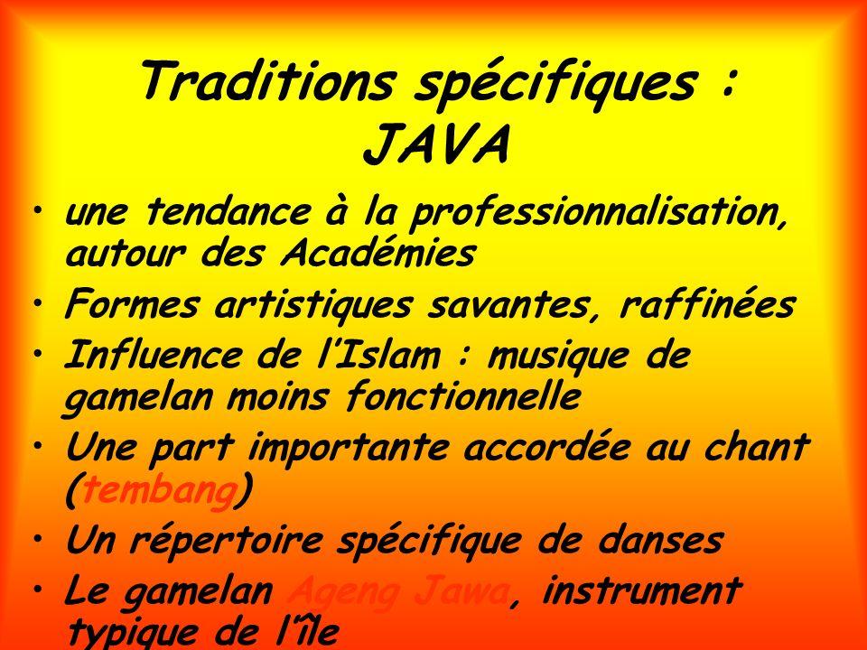 Traditions spécifiques : JAVA