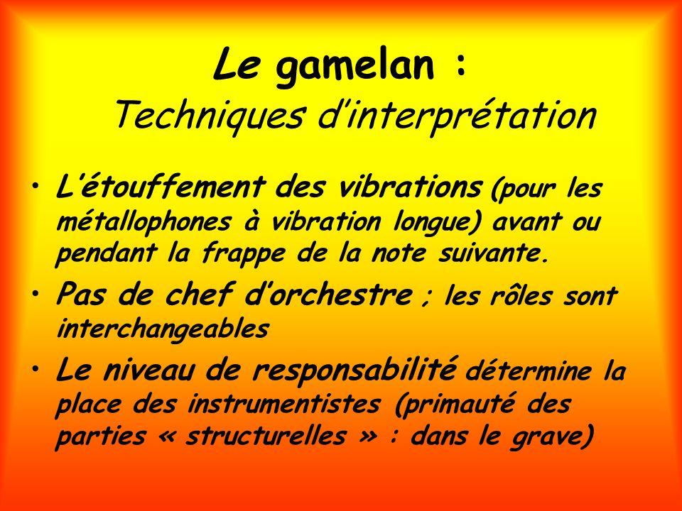 Le gamelan : Techniques d'interprétation