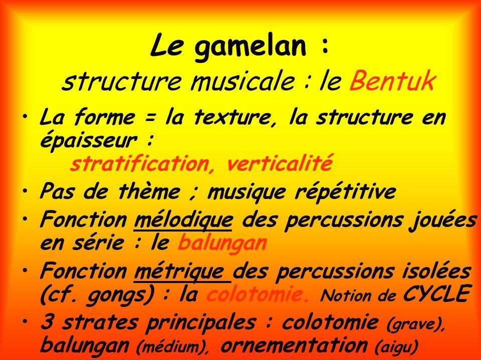 Le gamelan : structure musicale : le Bentuk
