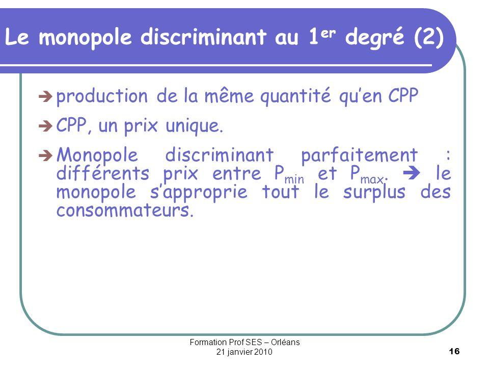 Le monopole discriminant au 1er degré (2)