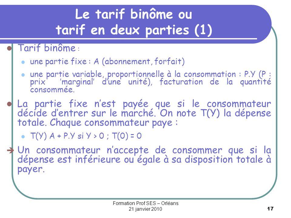 Le tarif binôme ou tarif en deux parties (1)