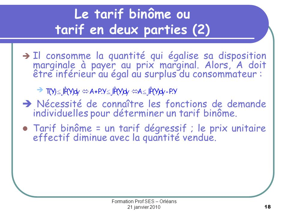 Le tarif binôme ou tarif en deux parties (2)
