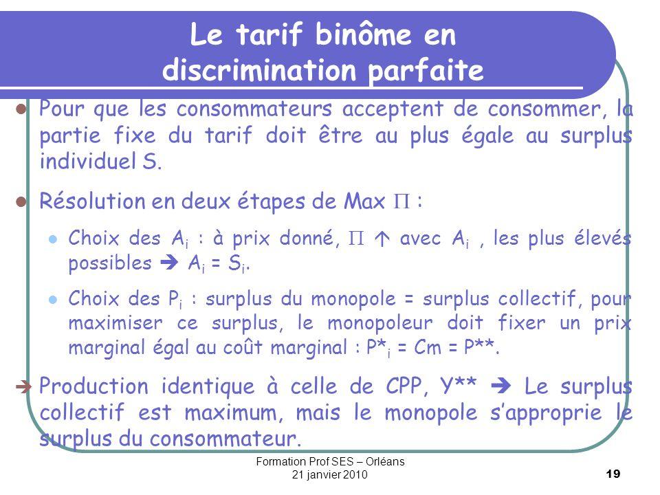 Le tarif binôme en discrimination parfaite