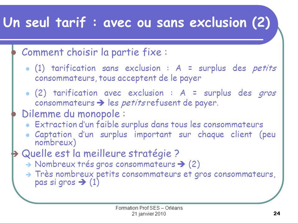 Un seul tarif : avec ou sans exclusion (2)