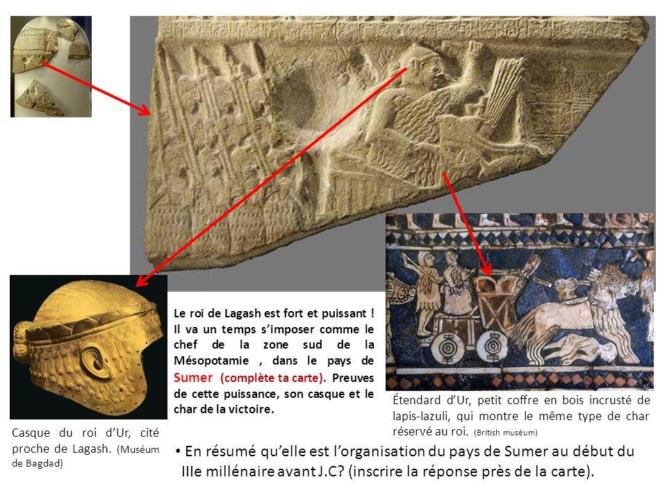 Casque du roi d'Ur, cité proche de Lagash. (Muséum de Bagdad)
