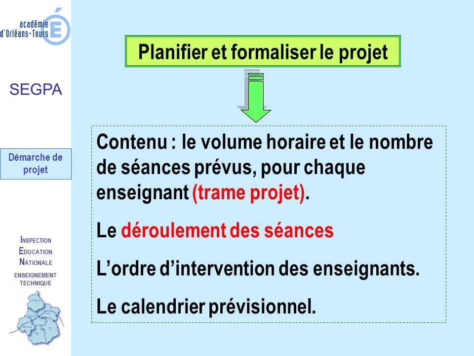 Planifier et formaliser le projet ENSEIGNEMENT TECHNIQUE