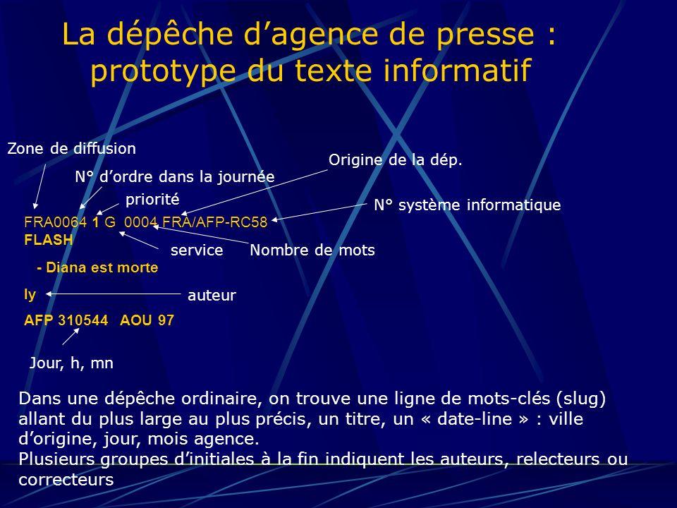 La dépêche d'agence de presse : prototype du texte informatif