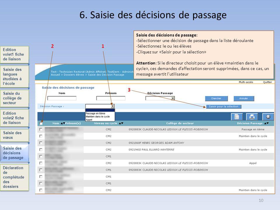 6. Saisie des décisions de passage