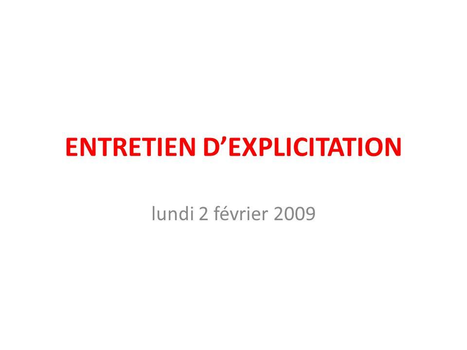 ENTRETIEN D'EXPLICITATION