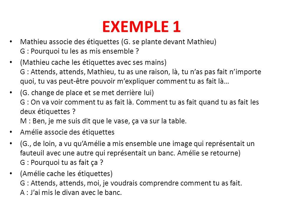 EXEMPLE 1 Mathieu associe des étiquettes (G. se plante devant Mathieu) G : Pourquoi tu les as mis ensemble