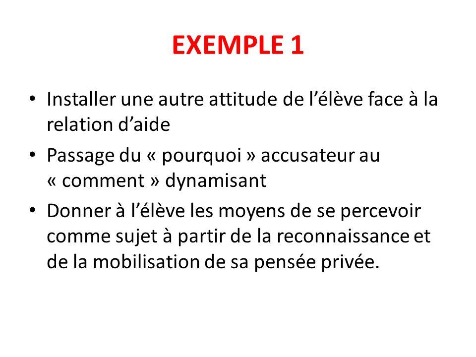 EXEMPLE 1 Installer une autre attitude de l'élève face à la relation d'aide. Passage du « pourquoi » accusateur au « comment » dynamisant.