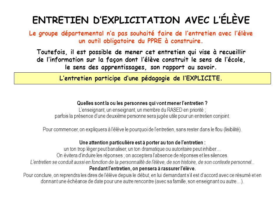 ENTRETIEN D'EXPLICITATION AVEC L'ÉLÈVE
