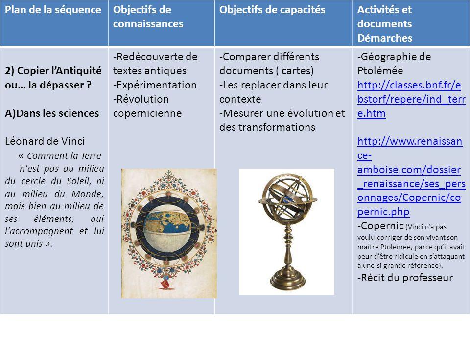Objectifs de connaissances Objectifs de capacités