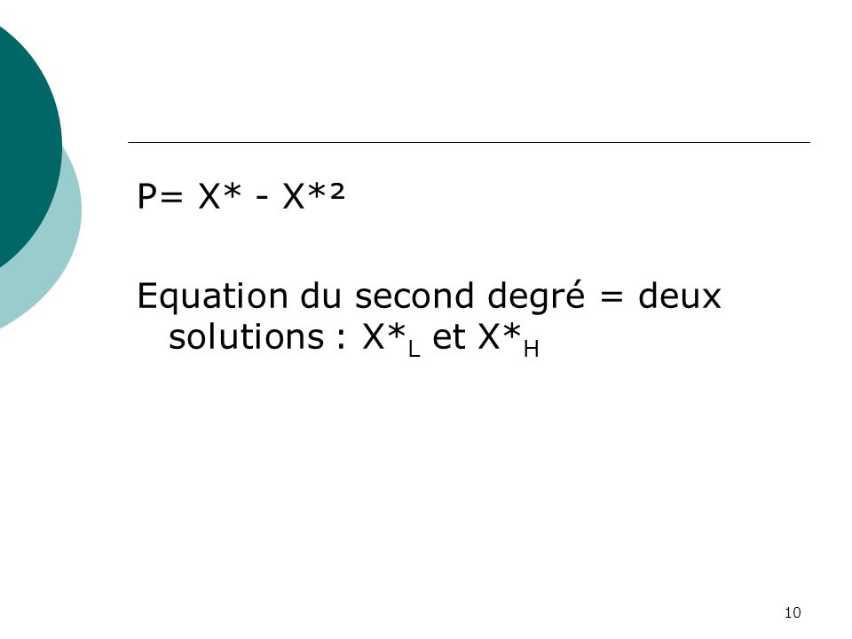 P= X* - X*² Equation du second degré = deux solutions : X*L et X*H