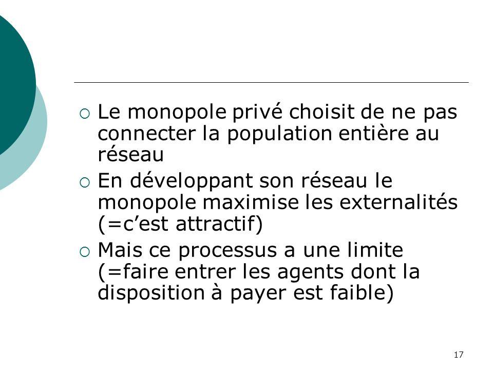 Le monopole privé choisit de ne pas connecter la population entière au réseau
