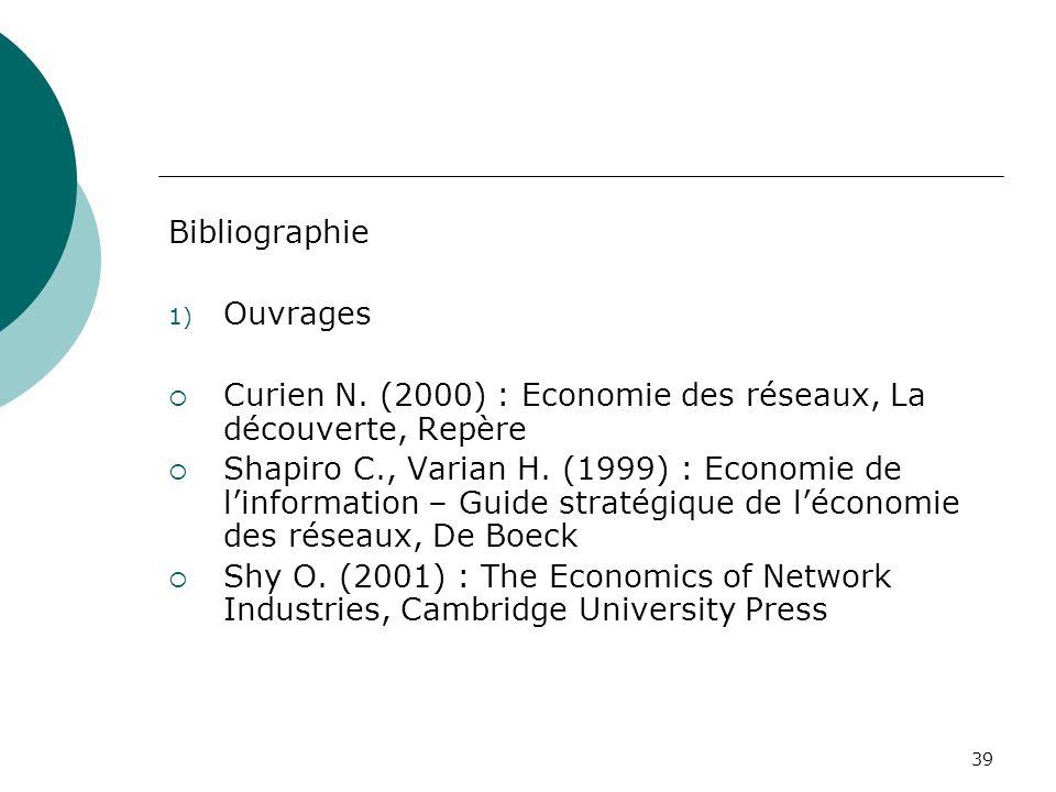 Bibliographie Ouvrages. Curien N. (2000) : Economie des réseaux, La découverte, Repère.