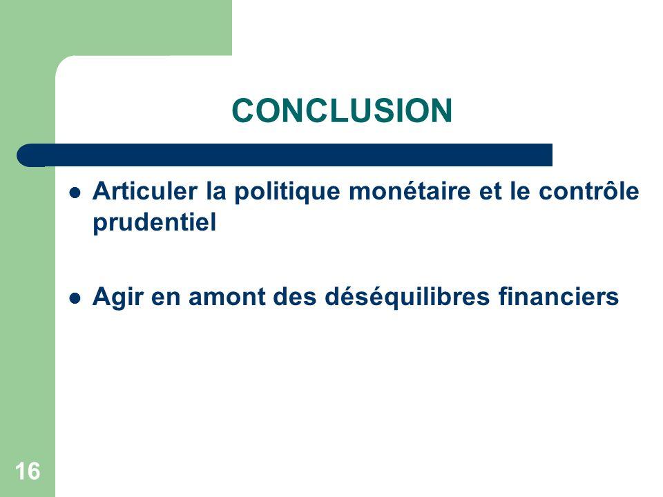 CONCLUSION Articuler la politique monétaire et le contrôle prudentiel