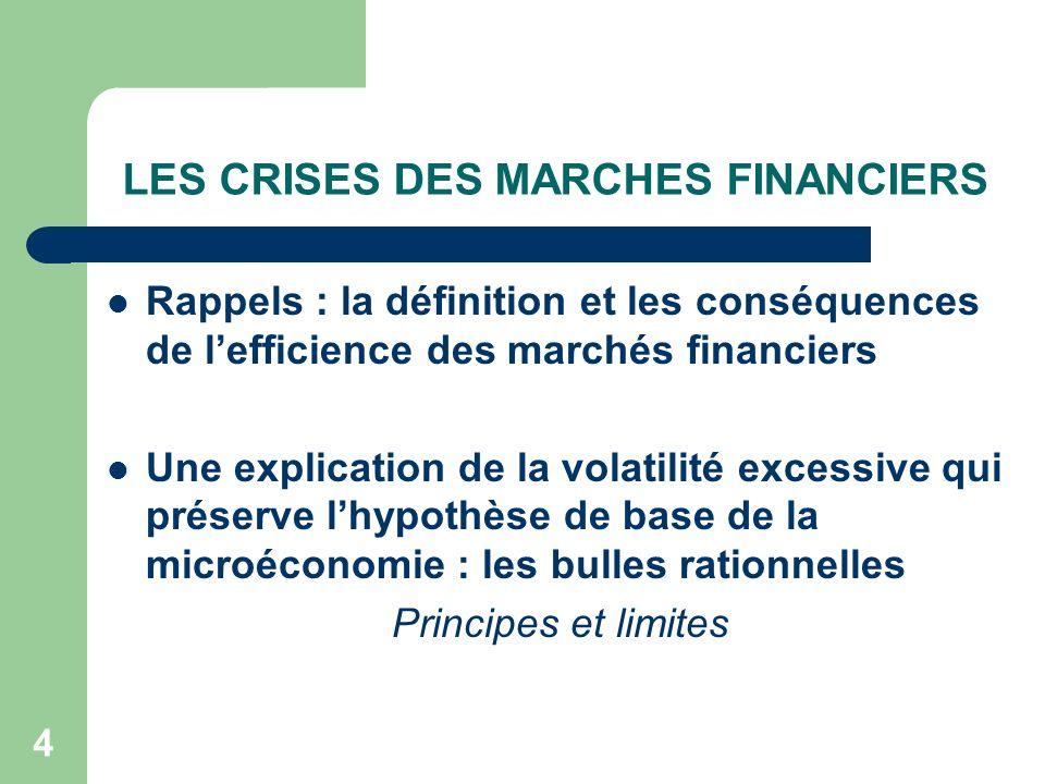 LES CRISES DES MARCHES FINANCIERS