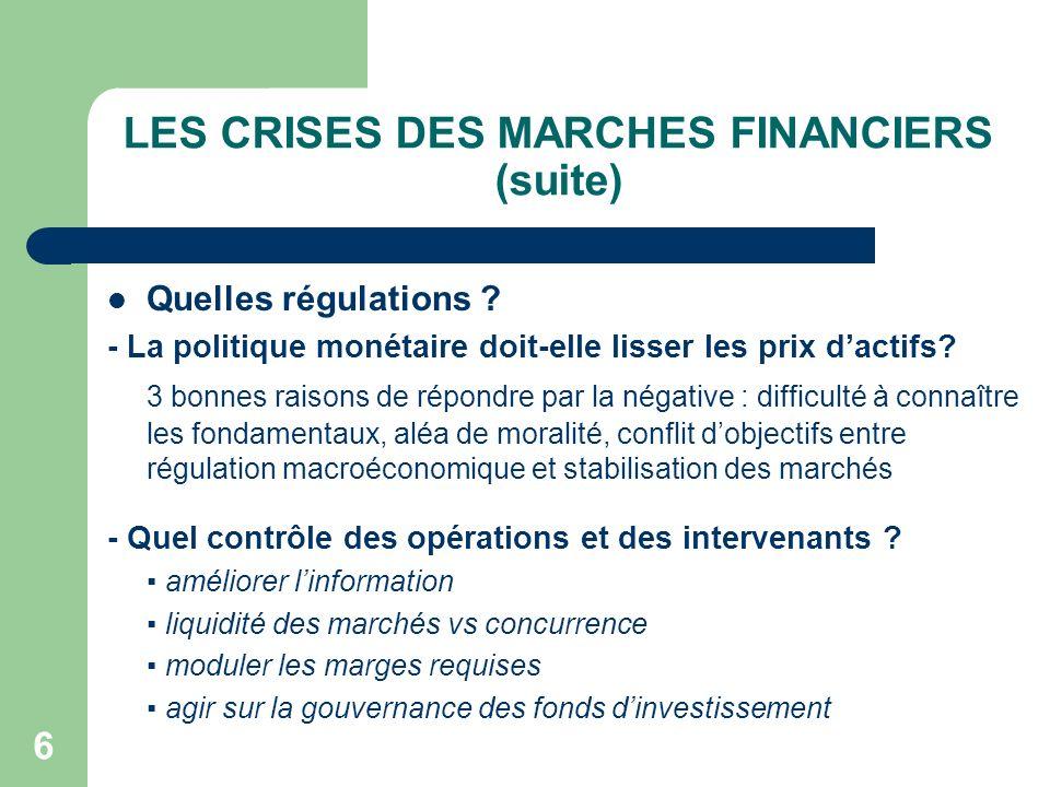 LES CRISES DES MARCHES FINANCIERS (suite)