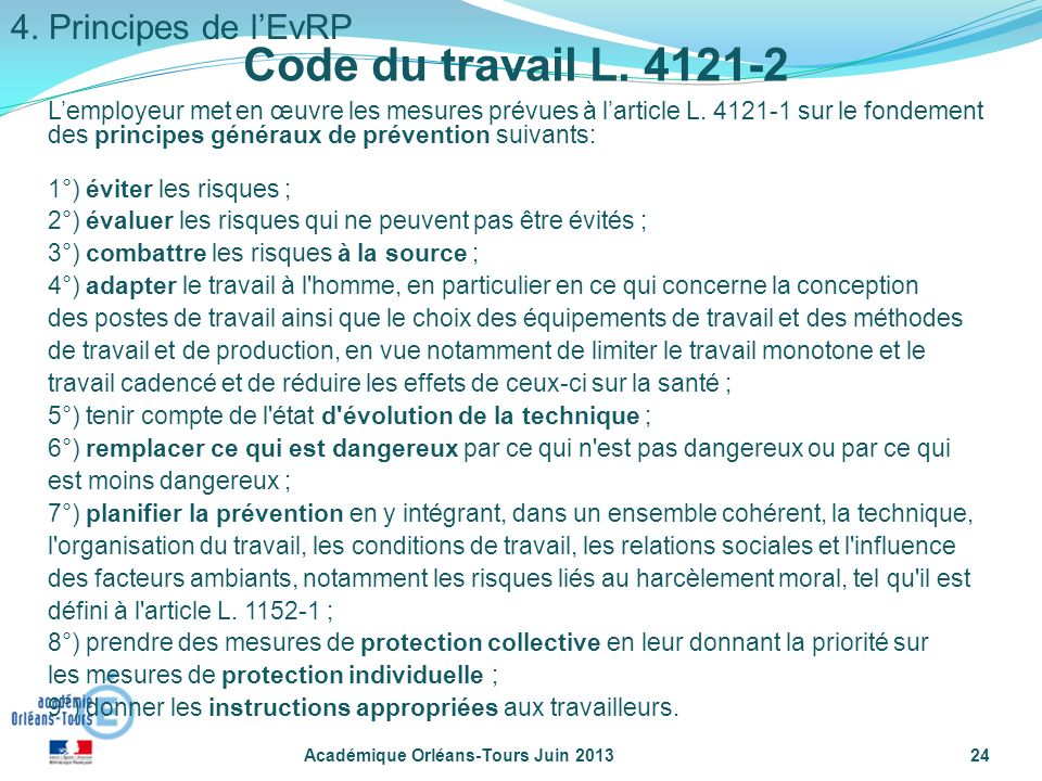 Code du travail L. 4121-2 4. Principes de l'EvRP