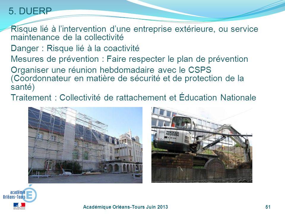 5. DUERP Risque lié à l'intervention d'une entreprise extérieure, ou service maintenance de la collectivité.