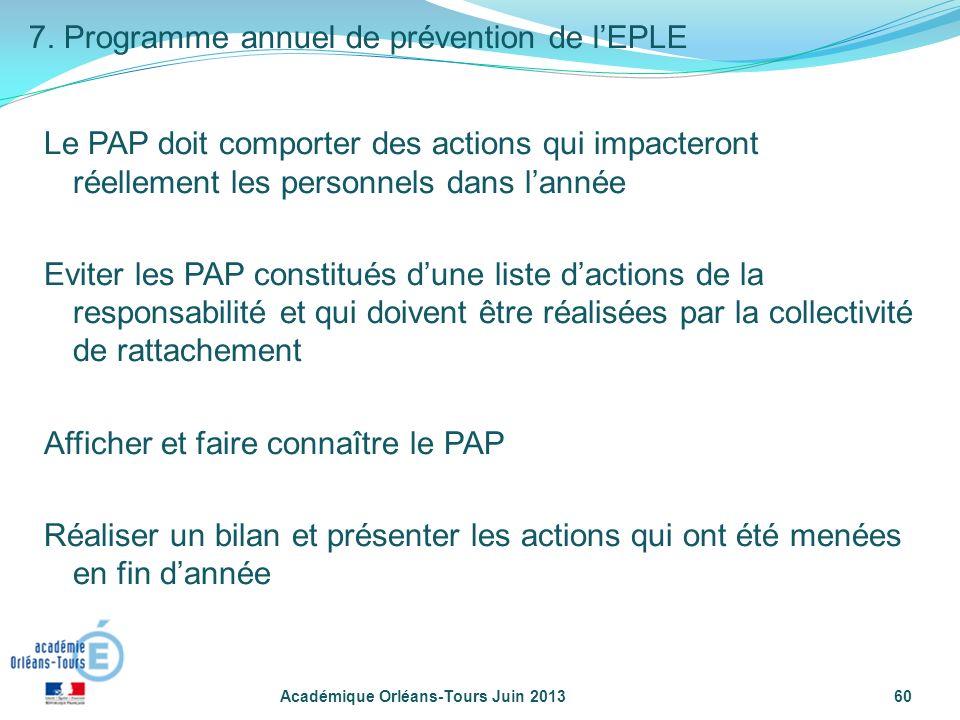 7. Programme annuel de prévention de l'EPLE