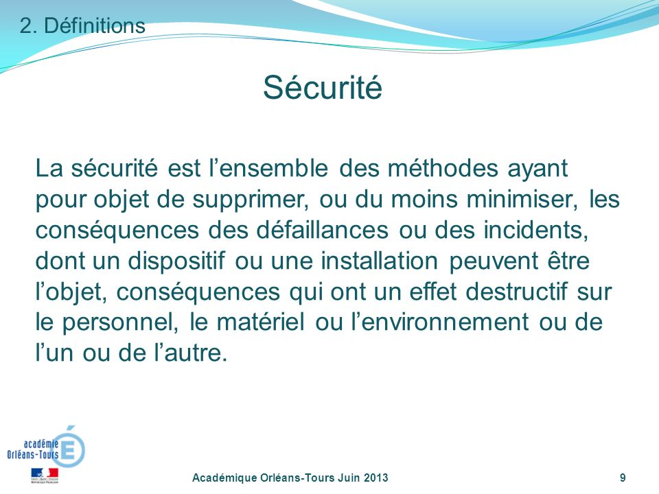2. Définitions Sécurité.