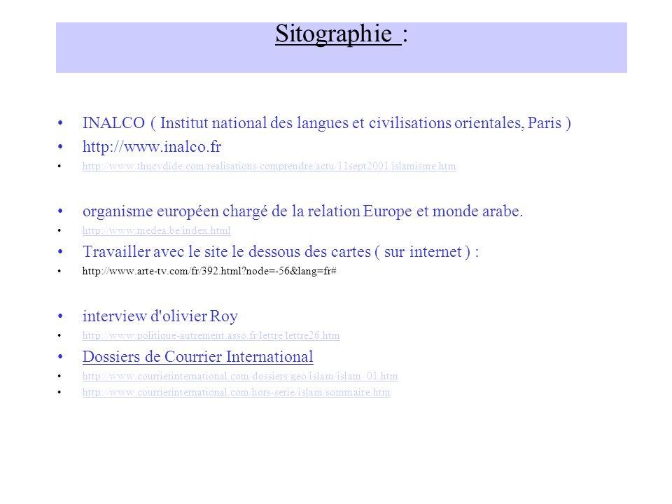 Sitographie : INALCO ( Institut national des langues et civilisations orientales, Paris ) http://www.inalco.fr.