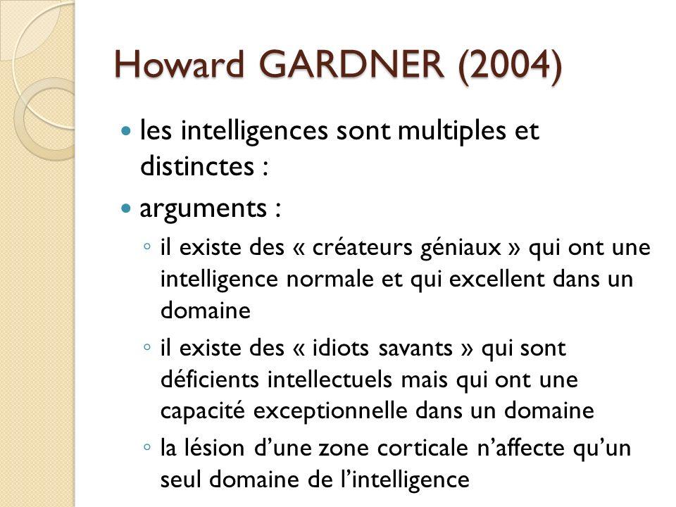 Howard GARDNER (2004) les intelligences sont multiples et distinctes :