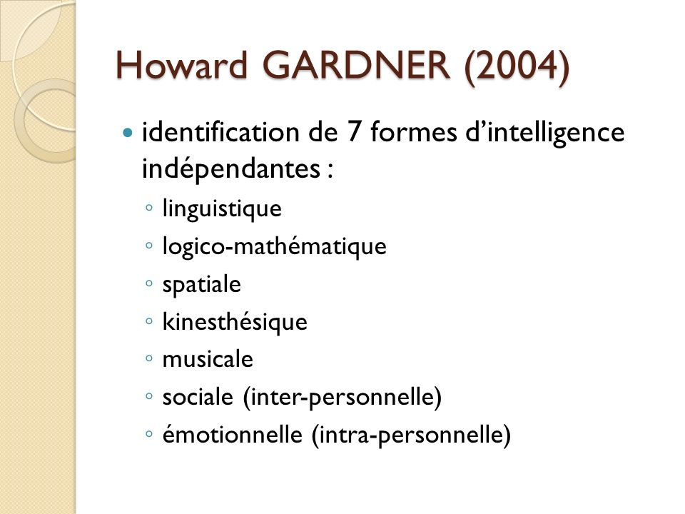 Howard GARDNER (2004) identification de 7 formes d'intelligence indépendantes : linguistique. logico-mathématique.