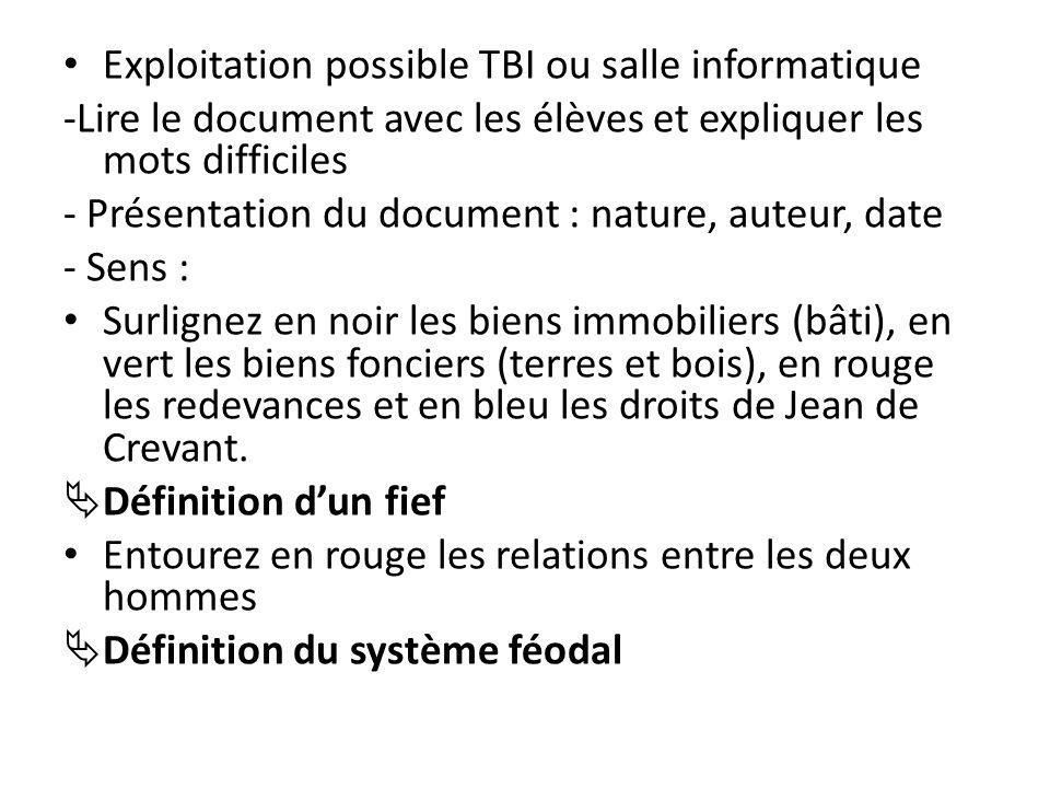 Exploitation possible TBI ou salle informatique