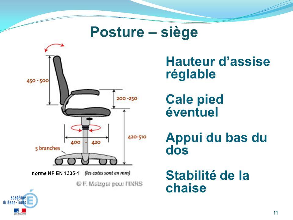 Posture – siège Hauteur d'assise réglable Cale pied éventuel